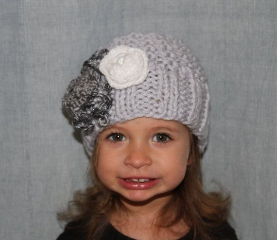 Knitted hat. Girls grey hat. Flower hat. by LudMilaBoutique
