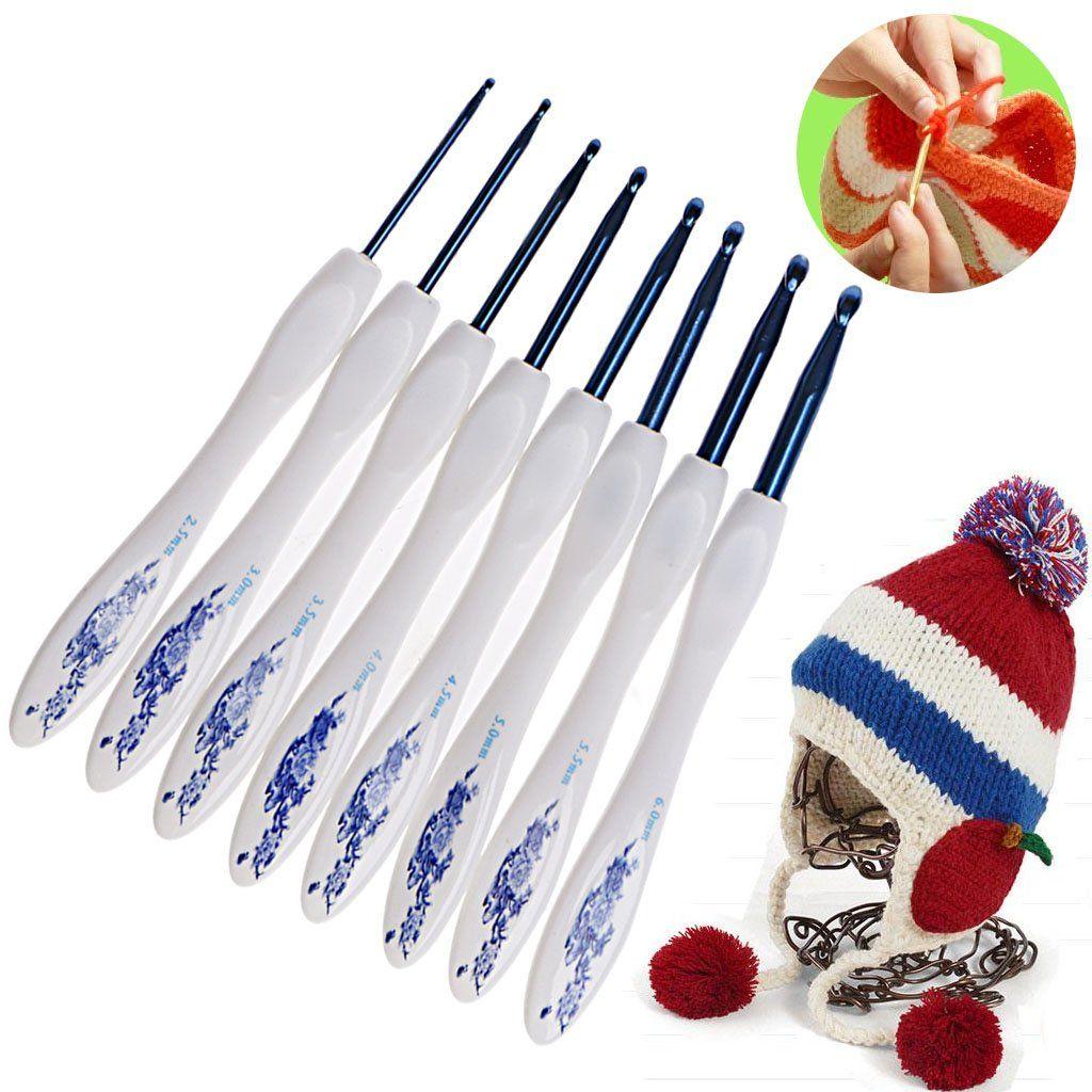 8pcs Plastic Handle Flower Aluminum Crochet Hooks Knitting Needles Set 2.5-6mm