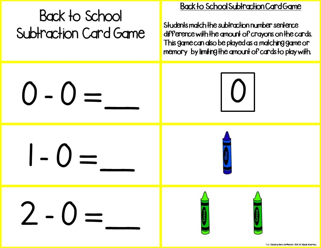 Back To School Add Subtract 0 10 Number Sentence Match Home Schooling Subtraction Activities Good Communication Skills