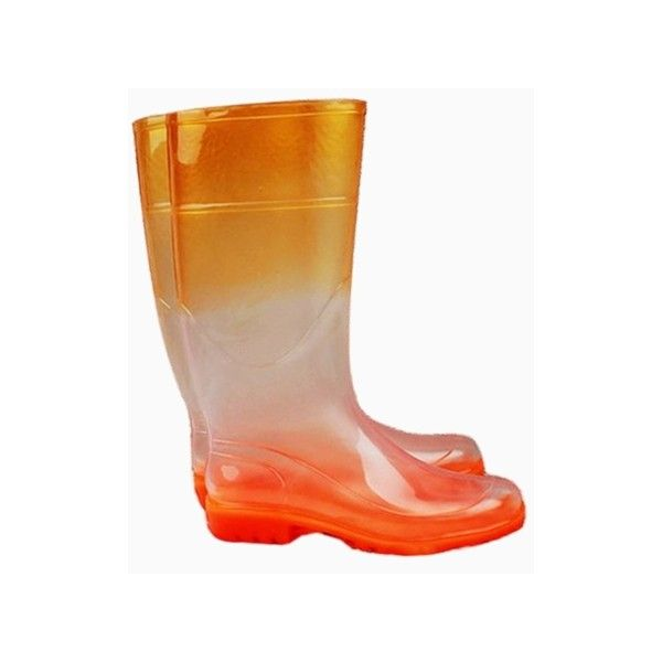 Orange Dip Dye Transparent Rain Boots (£39) ❤ liked on Polyvore featuring shoes, boots, wellies shoes, see-through shoes, orange shoes, orange boots and transparent rain boots