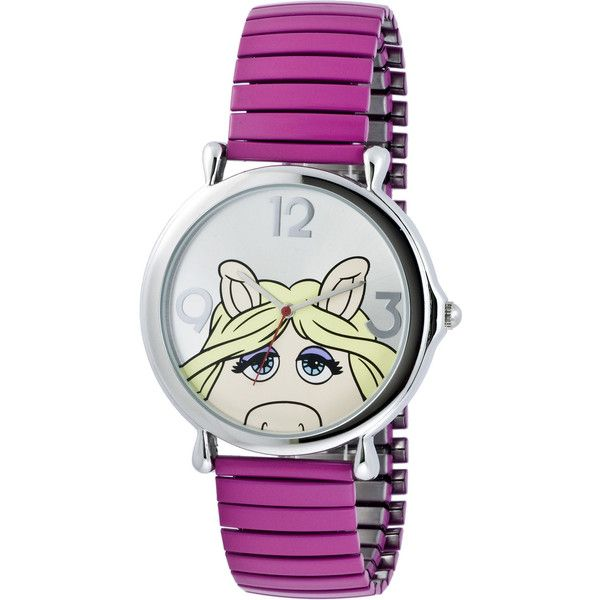 Muppets Miss Piggy Pink Expansion Band Watch ($23) ❤ liked on Polyvore featuring jewelry, watches, no color, pink jewelry, pink dial watches, dial watches, bracelet watches and pink watches