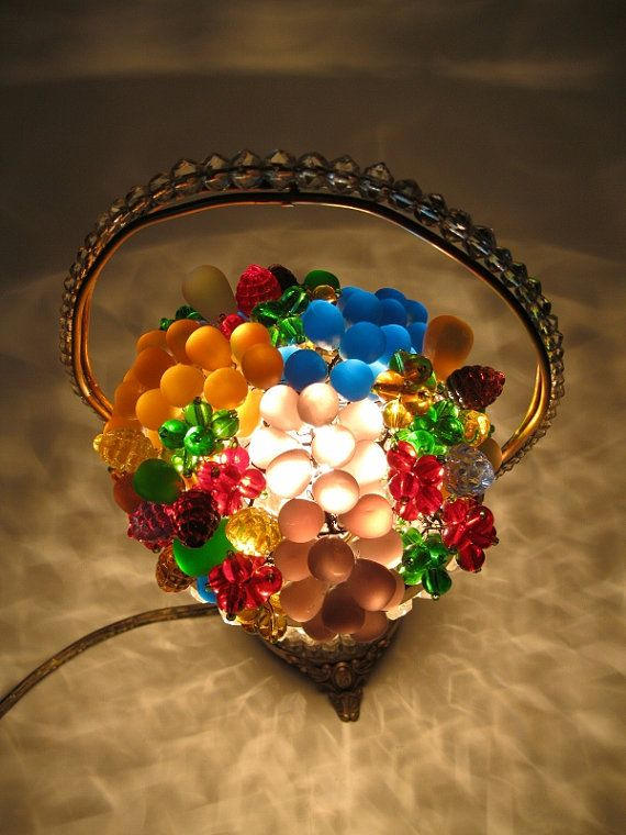 Antique Czech glass Beaded Basket Fruit Lamp by RueTrouve ...