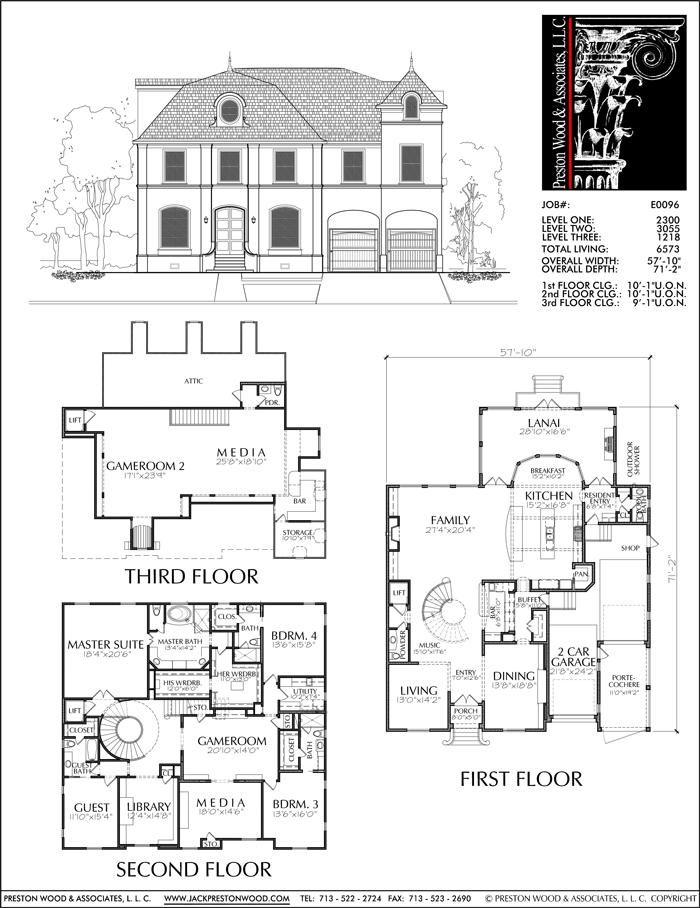 2 1/2 Story Urban House Plan E0096 | Vintage house plans ...