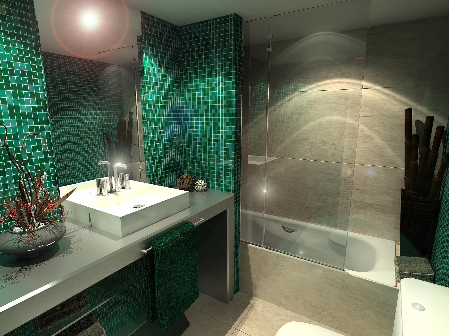 Ba o estilo moderno color verde beige blanco remodelaci n ba os ba os decoracion ba os - Interiorismo banos modernos ...