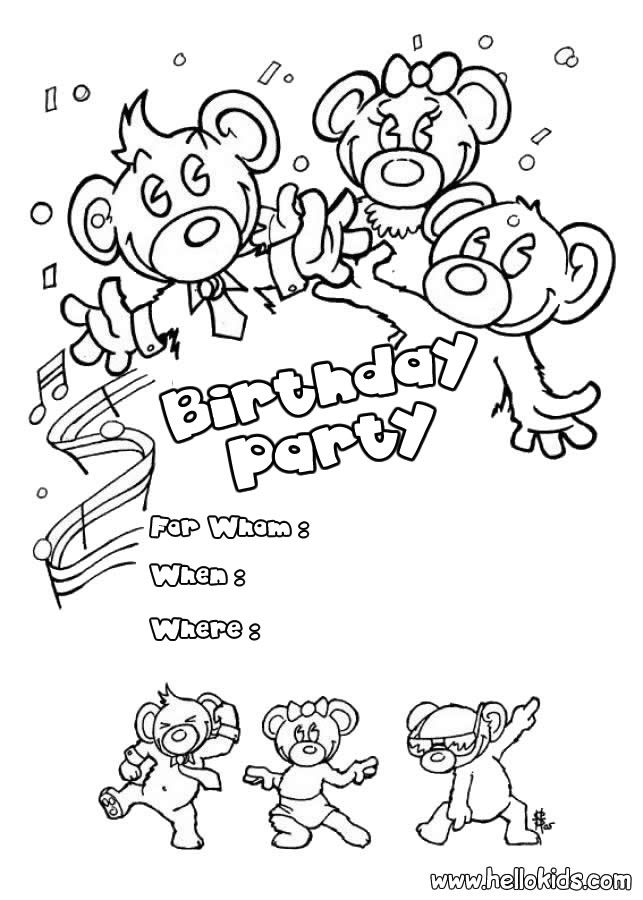 Birthday Card With Pictures Bear Coloring Pages