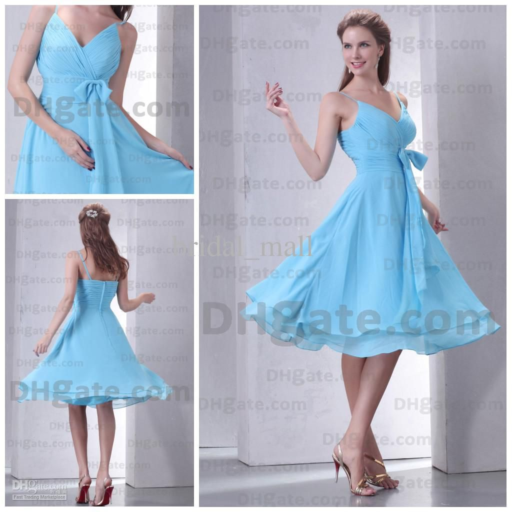 Cheap V Neck Knee Length Light Sky Blue Bridesmaid Dresses Prom ...