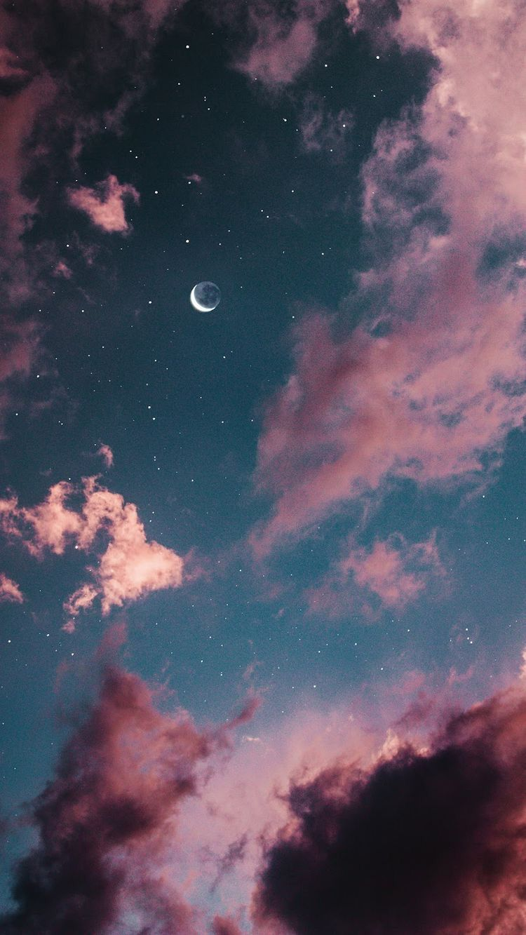 Moon Pinkclouds Sky Clouds Aesthetic Aestheticpastel Pastel Pink Tumblr Photo Desktop Wallpapers Backgrounds Iphone Background Landscape Illustration
