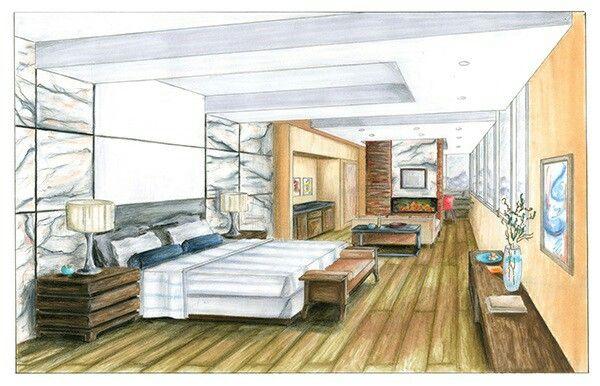 Perspectiva De Interiores Habitacion Bocetos De Diseno De Interiores Diseno De Interiores Perspectiva