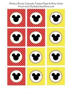 Free Printable Mickey Mouse Tags, Cupcake Toppers