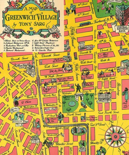 Greenwich Village Map An incredible map of 1930s Greenwich Village | New York State of