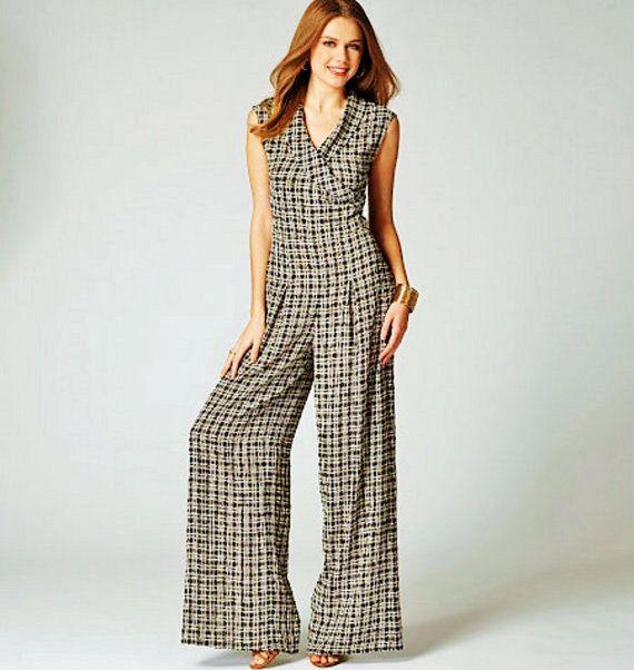 Misses Jumpsuit Pattern, Mock Wrap Top Pattern, Wide Leg Pants ...