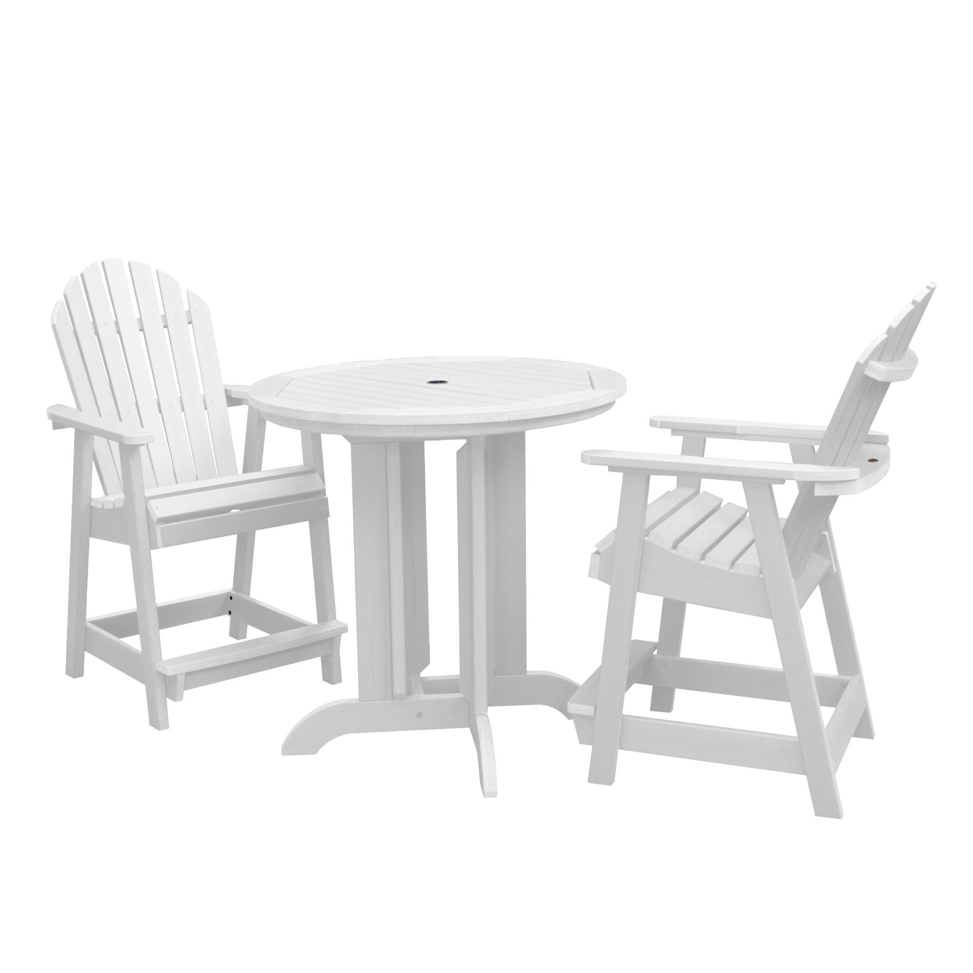 Highwood Patio Furniture.Hamilton 3pc Round Counter Dining Set White Highwood Products