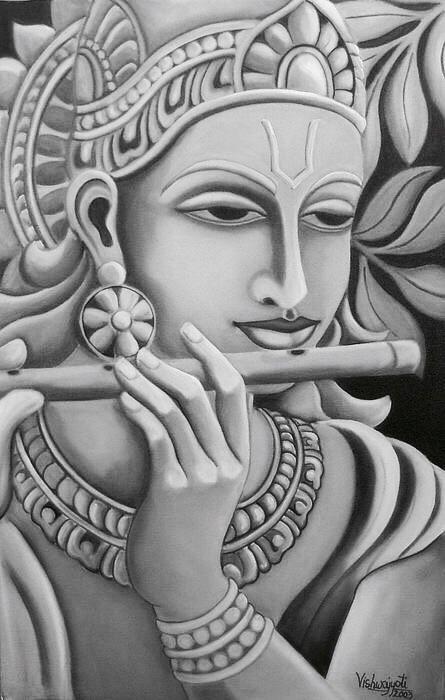 Krishna Photo Black And White : krishna, photo, black, white, Black, White, Krishna, Painting,, Hindu
