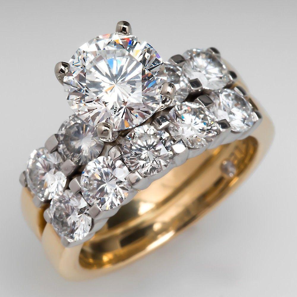 """The Leo"" 2 Carat Diamond Engagement Ring Bridal Set 18K"