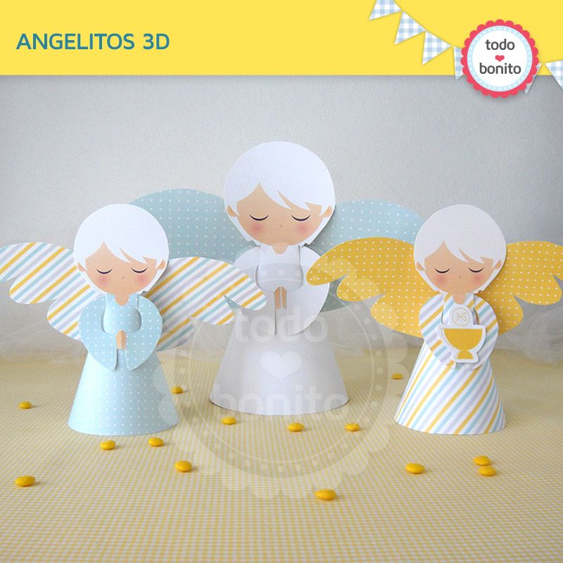 Angeles Decoracion De Mesa Primera Comunion Ninos Manualidades - Decoracion-de-comunion-de-varon