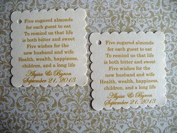100 Custom Printed Jordan Almond Wedding Favor Tags No Ribbon By Weddingsbysusan 20 00