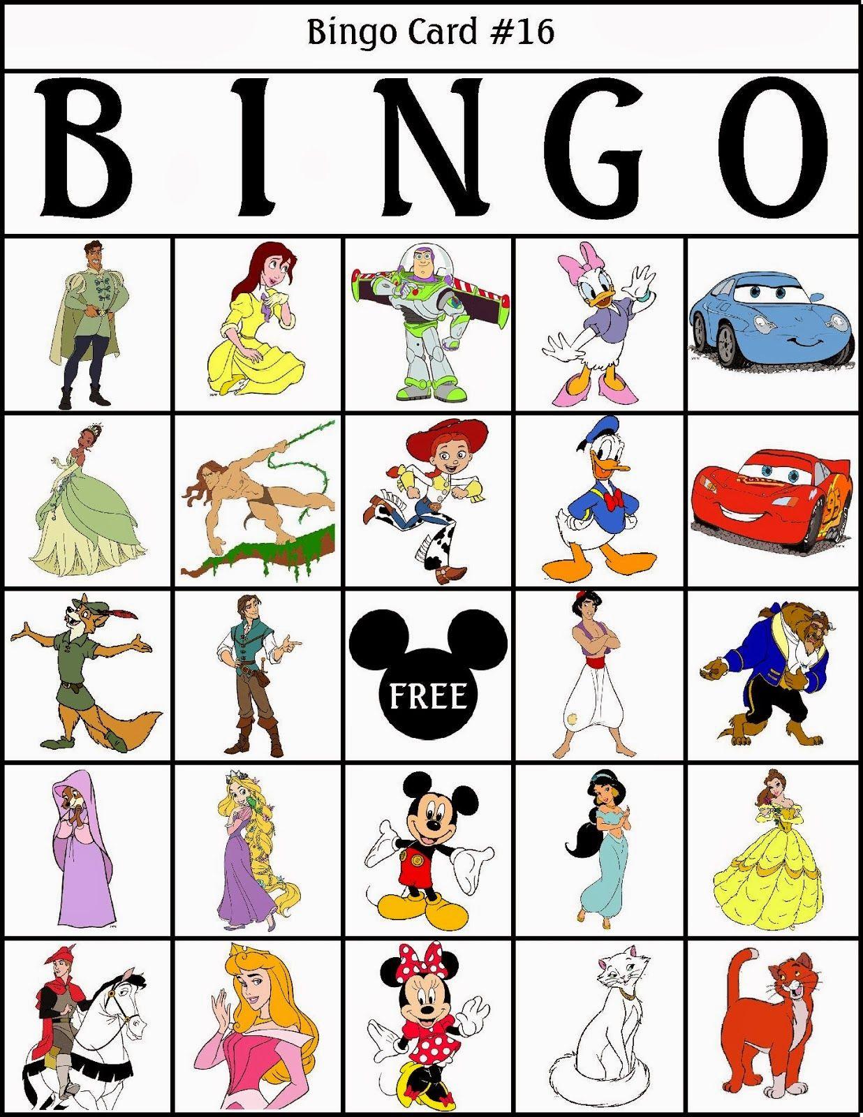 Bingo De Personajes Disney Para Imprimir Gratis