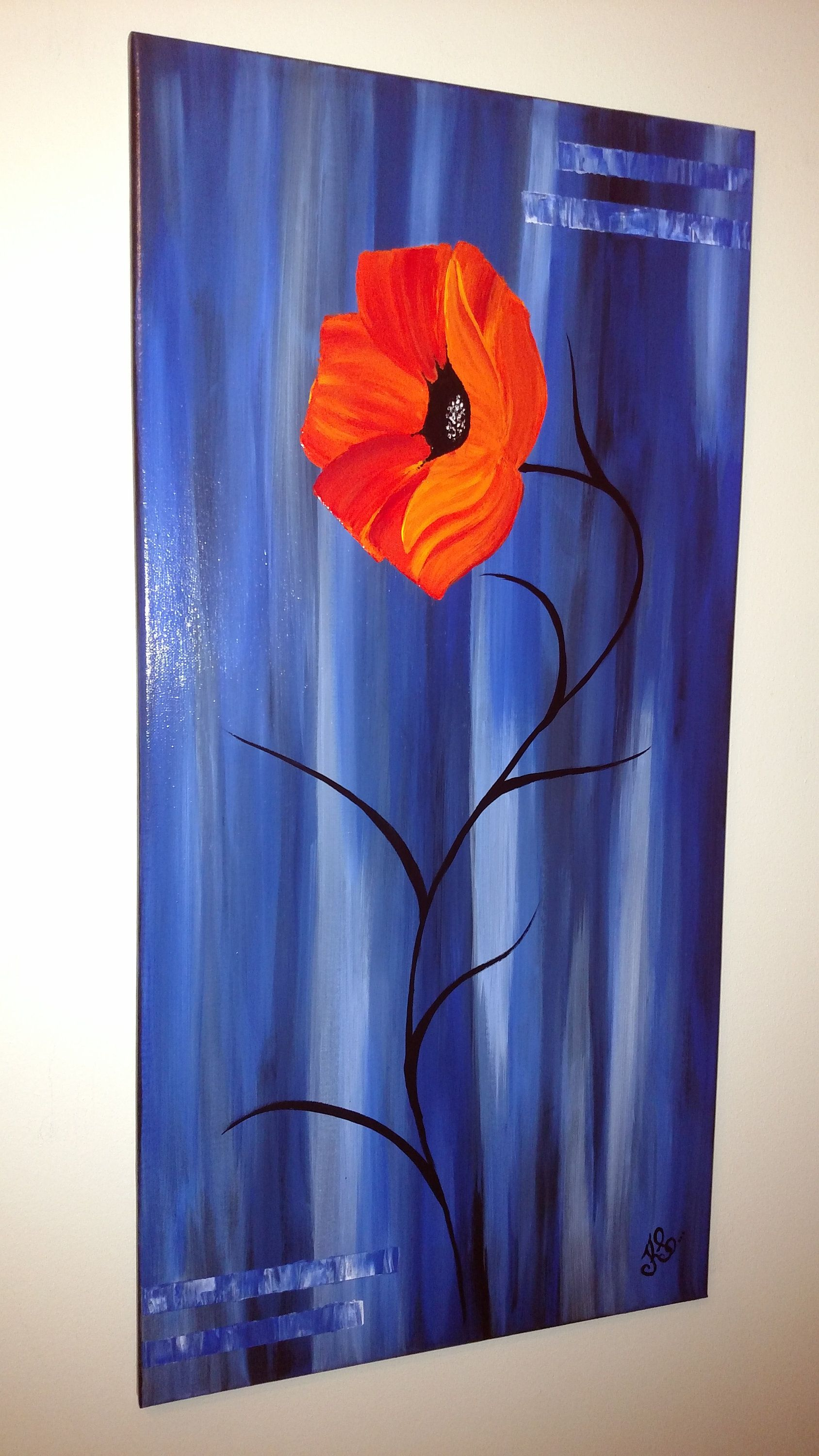 Large wall art red poppy flower original painting abstract canvas, royal blue vertical living room decor, modern fine art home office decor #paintinglivingrooms