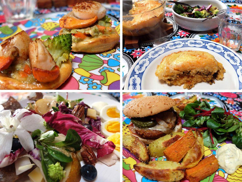 Semaine du 2 au 8 janvier 2016 : feuilletés aux Saint Jacques, parmentier végétarien, salade composée et hamburgers végétariens express avec frites de pommes de terre et patates douces au four, etc.