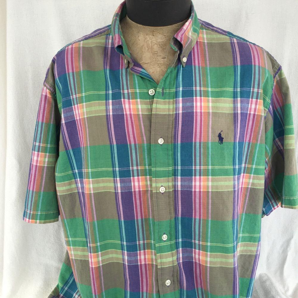 Polo Ralph Lauren XL Blake Multi Color Plaid Madras Shirt Men's