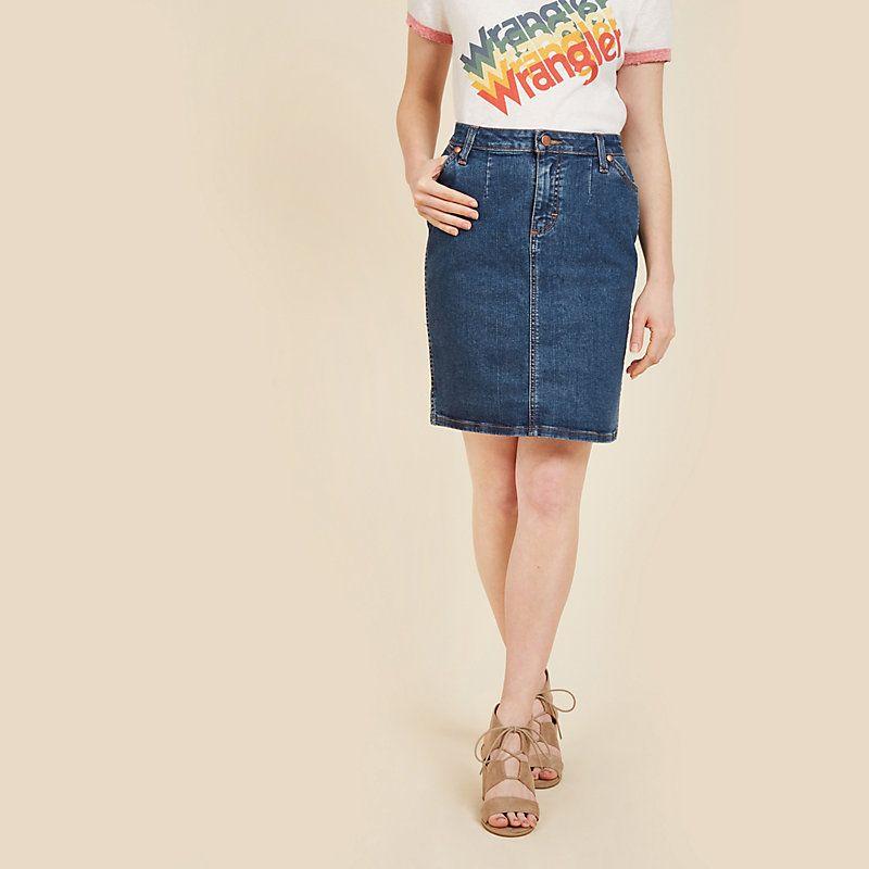 5ea5239fdde Wrangler Women s Modcloth x Denim Skirt (Plus Sizes) (Size  1X) Blue