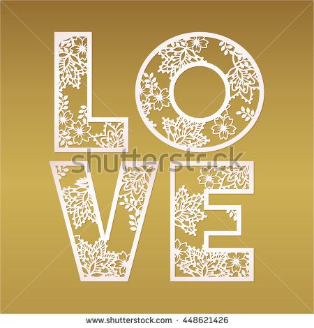 Paper cutout love design over gold background vector May be used