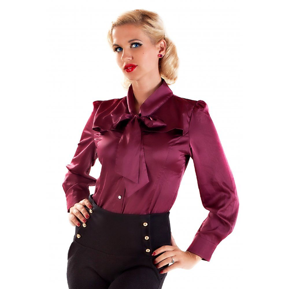 Satin Pussy Bow Blouse - Black - Shopcade: Style &