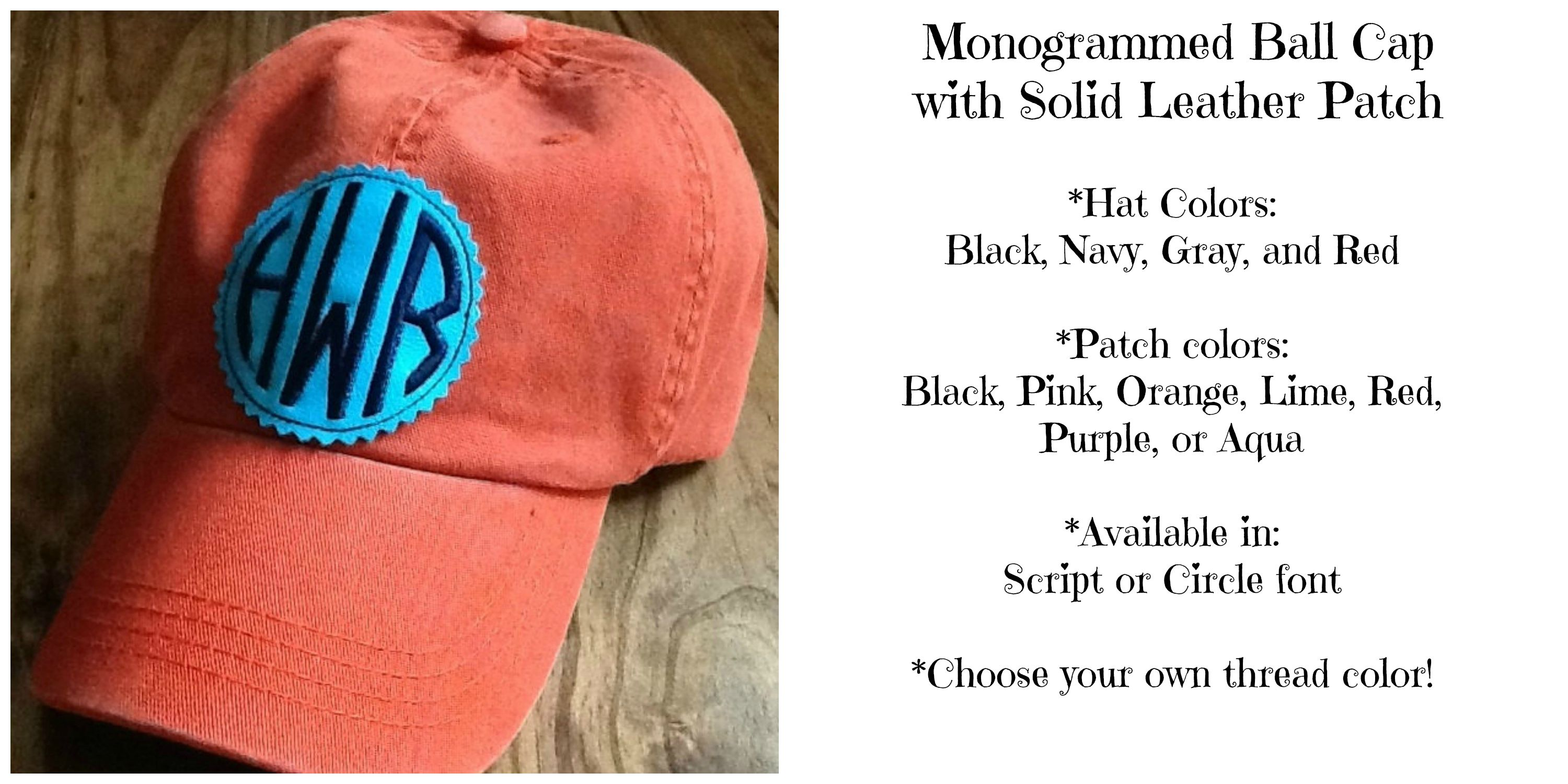 Love these solid patch monogrammed ball caps!