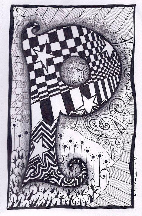 Zentangle, Letter P, Zebra Letters, name, bunting. £3.50