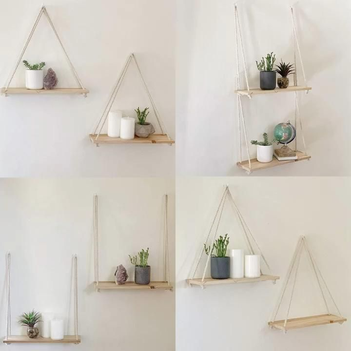 Photo of Pine Wood Hanging Shelves with Rope
