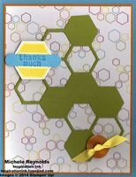 """Handmade thank you card using Stampin' Up! products - Six-Sided Sampler Set, Sweet Taffy Designer Series Paper, Hexagon Hive Thinlits, Designer Buttons, 1/4"""" Cotton Ribbon, Hexagon Punch, and Word Window Punch.  By Michele Reynolds, Inspiration Ink, http://inspirationink.typepad.com/inspiration-ink/2014/08/six-sided-sampler-hydrocarbon-chain-thanks.html."""