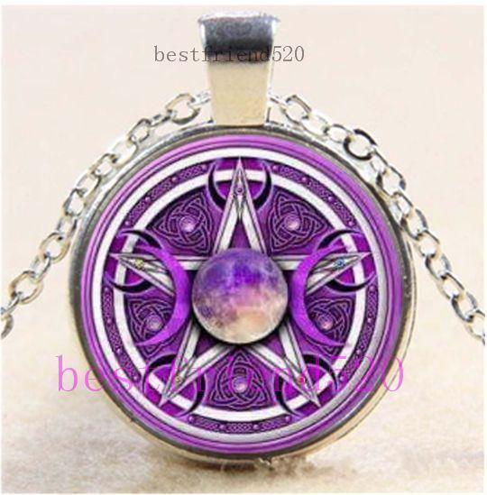 Celtic Pentacle Photo Cabochon Glass Tibet Silver Chain Pendant Necklace