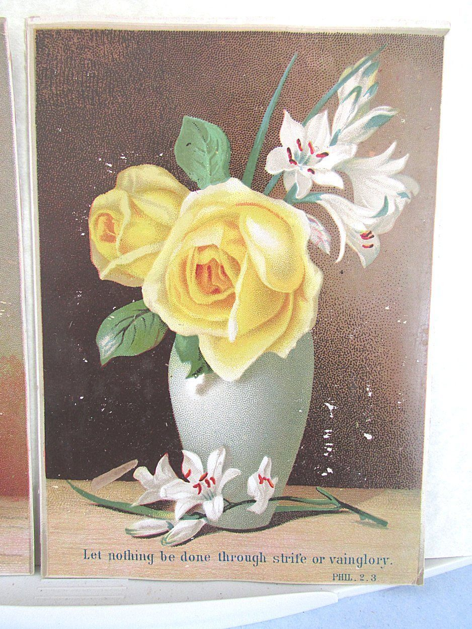 12 Victorian Greeting Cards Bible Religious Sayings Quotes Flower