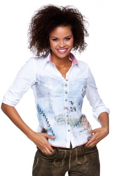 Traditional blouse printed - Hanni - white   Tracht Blouses ... 9d4afcee99