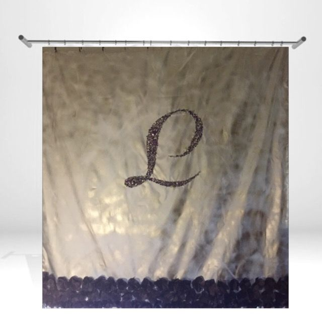 Customizable Metallic Silver Monogram Rhinestone Shower Curtain
