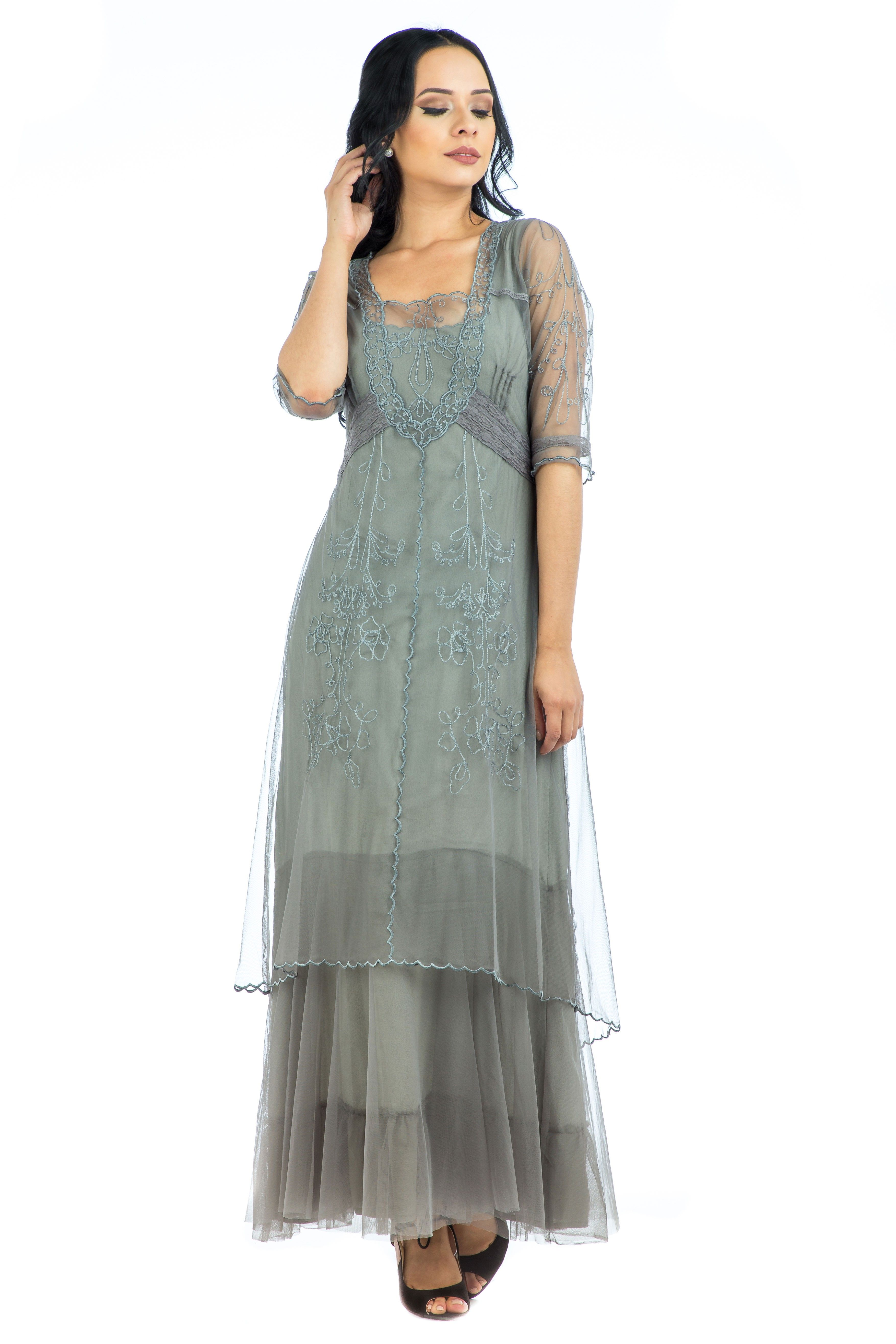 Mother of the groom dresses afternoon wedding  Victoria Vintage Style Party Gown in Smoke by Nataya will allow you