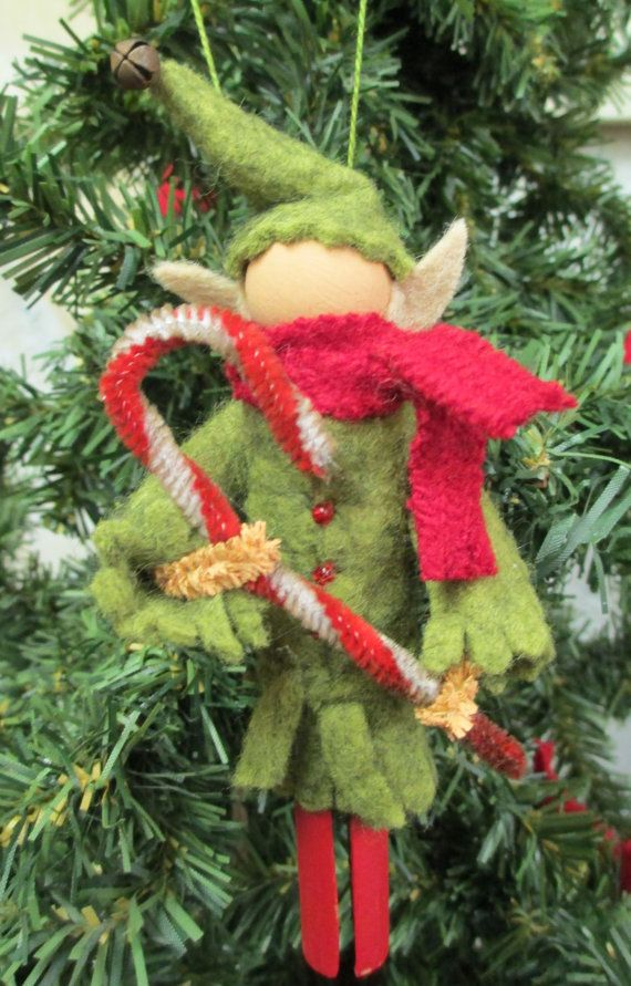Elf Christmas Ornament - Olive Green, Clothespin Ornament, Elf