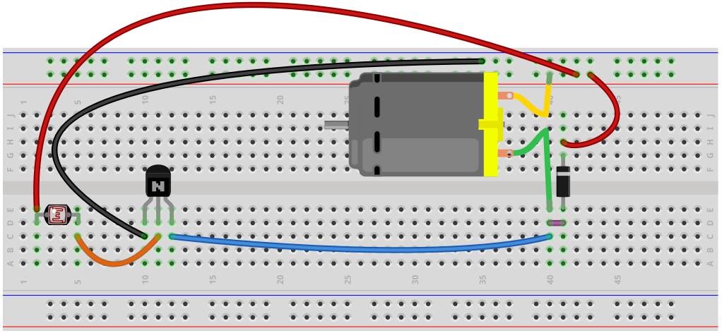 Light-actived Motor Circuit breadboard schematic | breadboard ...