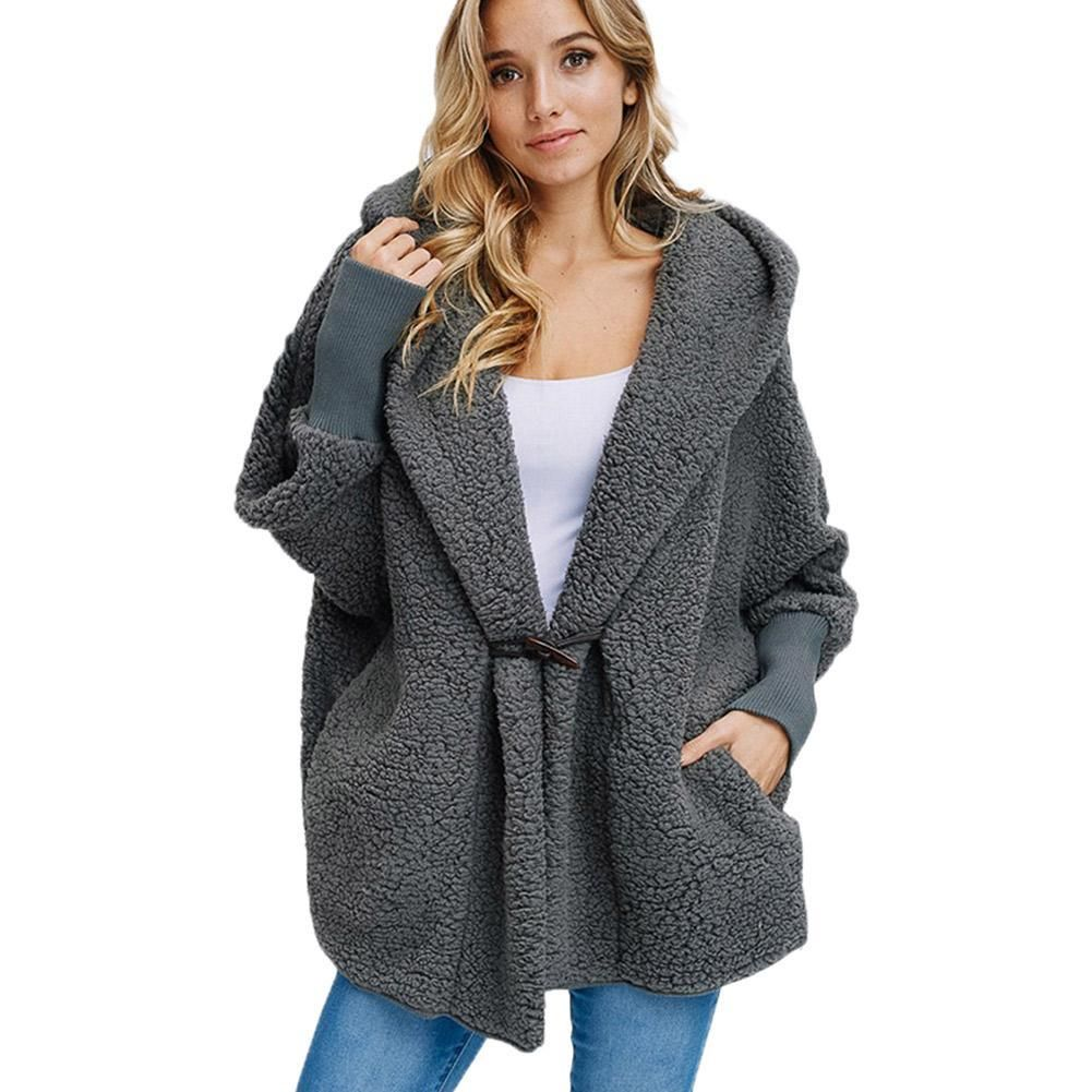 Plush Hooded Pure Long sleeve Coats (With images)