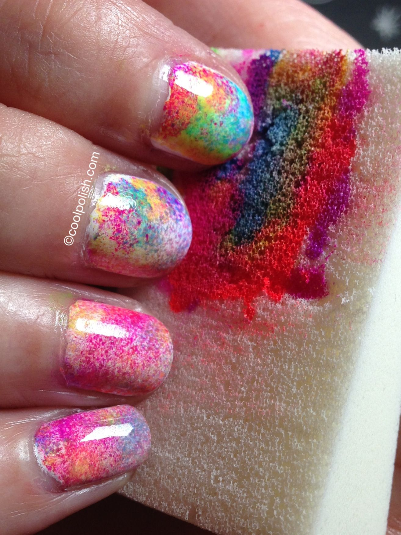 tie dye nails diy - could also do with dark colors to look like the ...