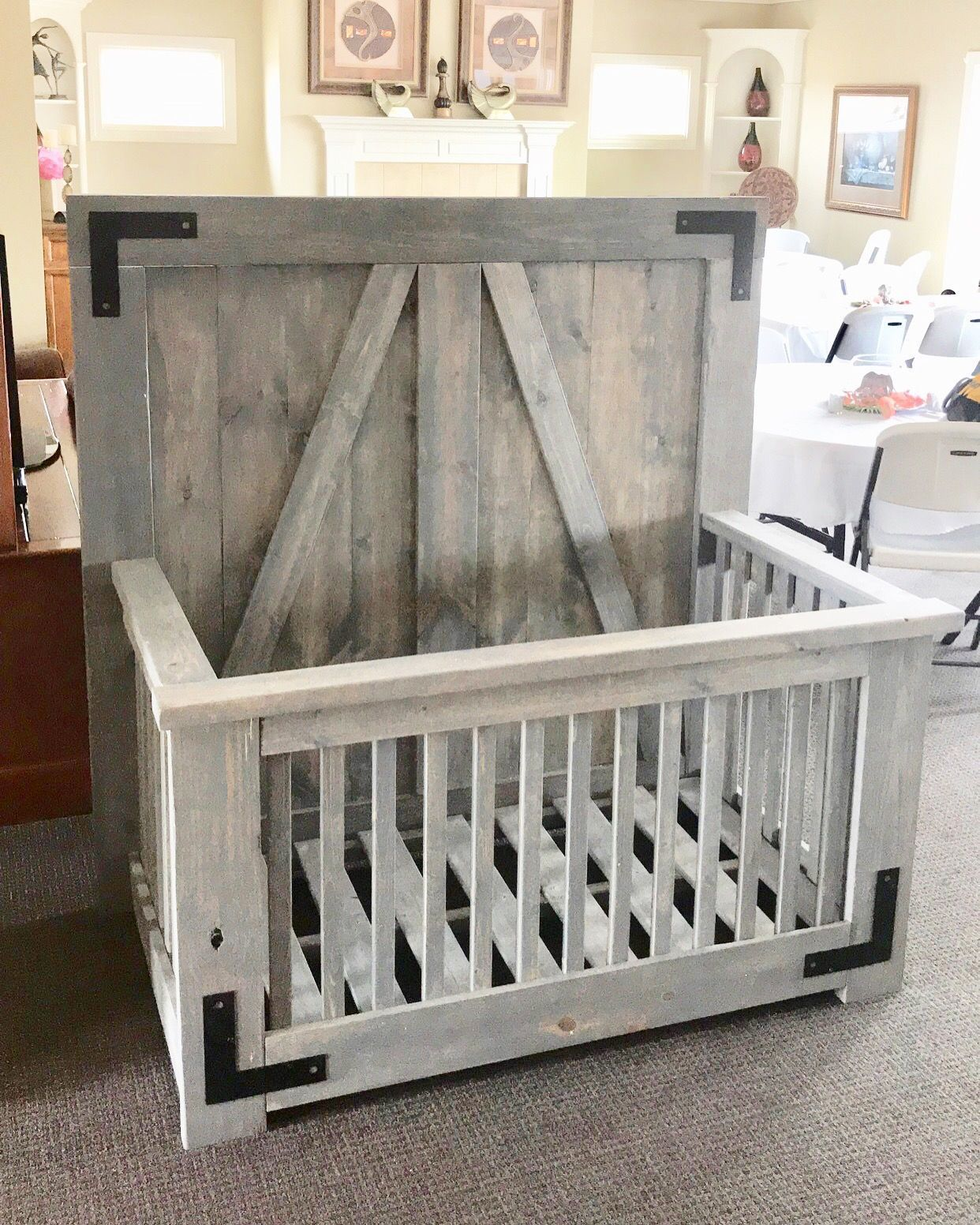 rustic grey crib on farmhouse style baby crib nice gray finish with black accent pieces probably the funnest project i think i ve m baby boy decorations boy decor baby furniture farmhouse style baby crib nice gray