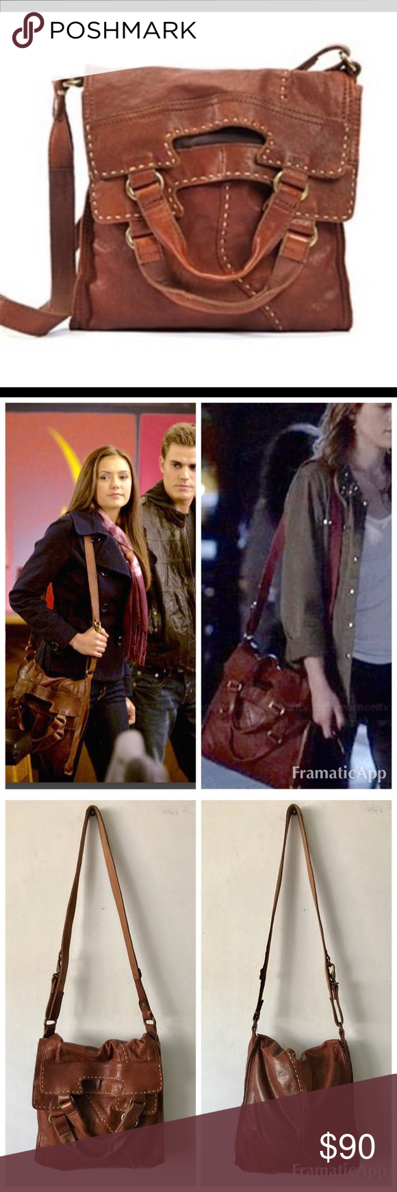 """Lucky Brand Abbey Road Foldover Bag $178 rare! Lucky Brand Abbey Road Foldover Bag $178 Celebrity Fave! As seen in Vampire Diaries & on other celebrities. Great condition- interior is clean with no stains. Exterior Italian Leather is super soft, backside has slight area of discoloration- see photo. Not very noticeable.   * Leather  * Plainweave lining  * flap closure  * 12"""" shoulder drop  * 12"""" high  * 12"""" wide  * Handles have a drop of approximately 6"""" Lucky Brand Bags Crossbody Bags"""