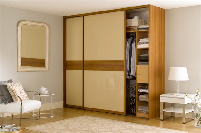 Fitted Sliding Wardrobe Doors In Cream Glass Walnut Dado