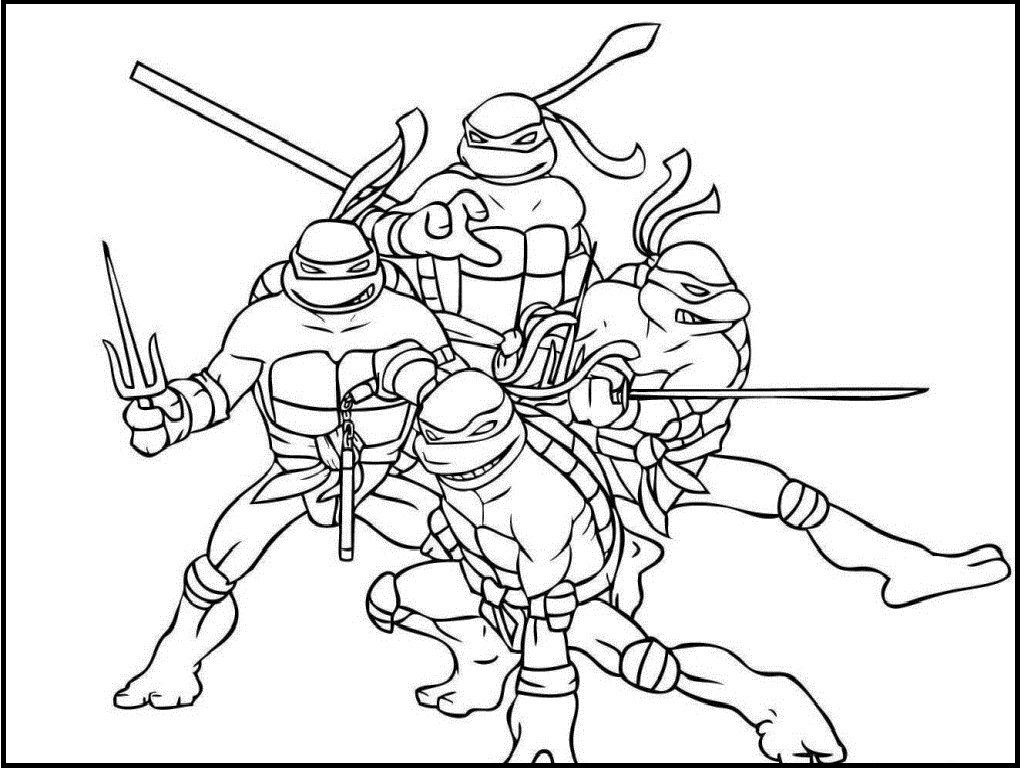 Teenage Mutant Ninja Turtles Team coloring picture for kids ...