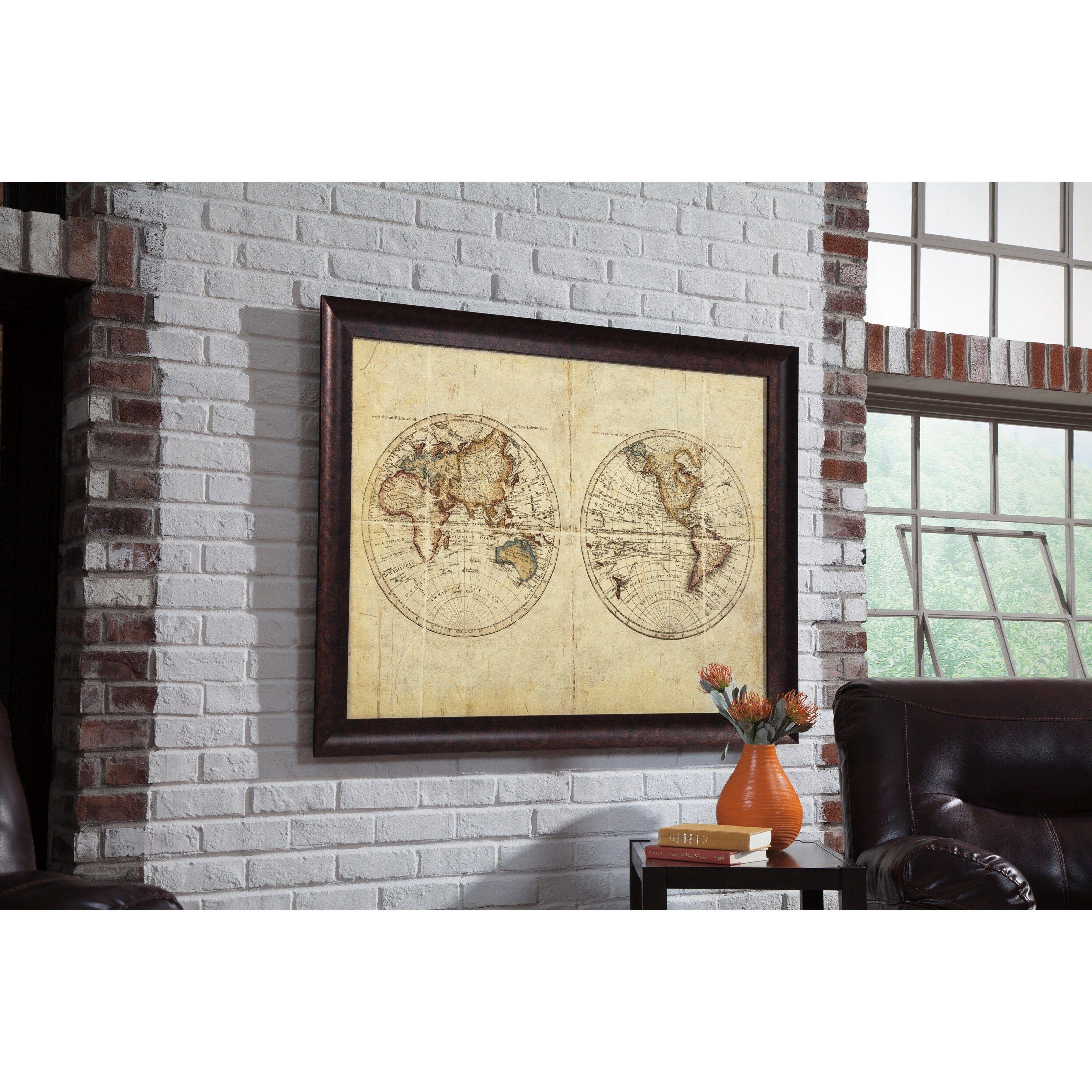 Wall art barhloew multi wall art map design in shades of tan brown
