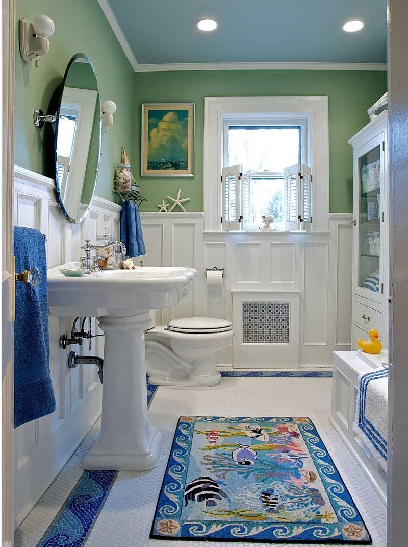 15 Beach Bathroom Ideas - coastal-inspired ideas for Riley/guest bathroom .  Love the green wall color!