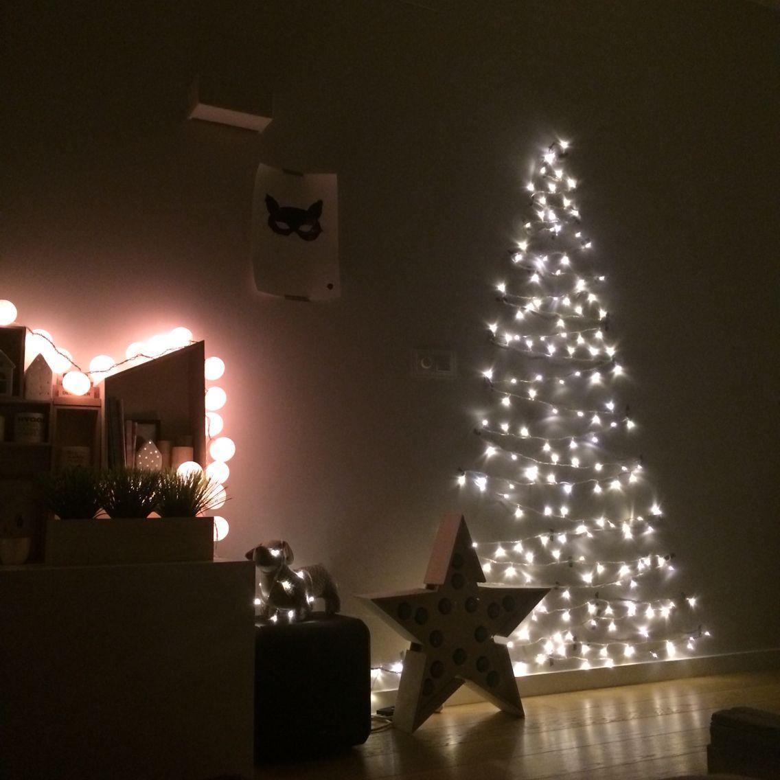 Arbol de navidad facil y barato con washitape y luces led - Luces arbol de navidad ...