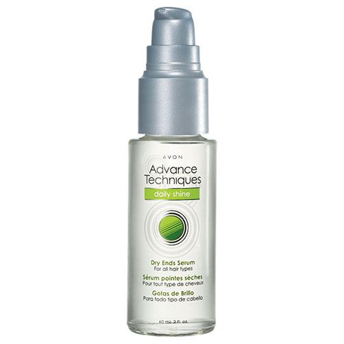 Advance Techniques Daily Shine Dry Ends Serum. Smooth and protect hair by applying Dry Ends Serum on towel-dried hair before styling. Delivers smooth, shiny hair with up to 65% less frizz!* Special ingredient - pro-vitamin B: coats the hair, enhancing its gloss, elasticity and body. 2 fl. oz. <br><br> *Versus no treatment.