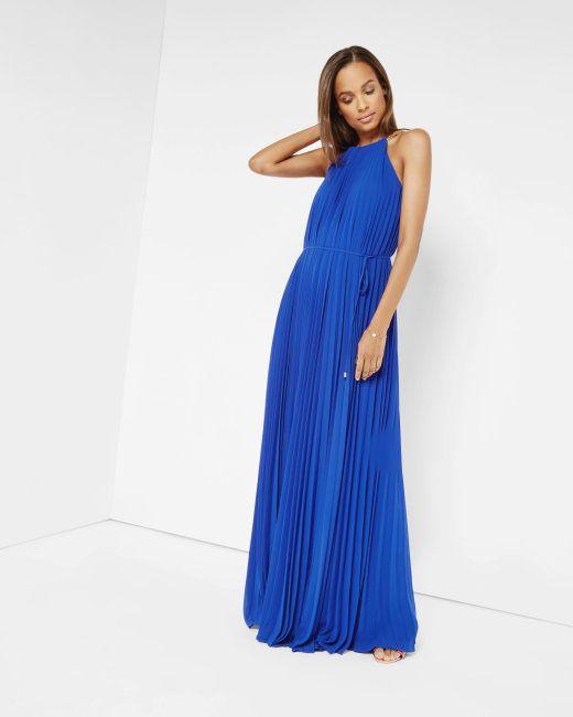 Pleated Maxi Dress Bright Blue Dresses Maxi Dress Dresses Bright Blue Dresses