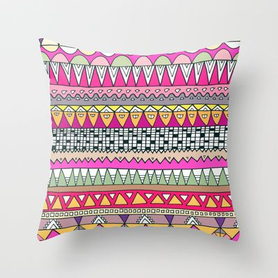 Tribal Lines Throw Pillow by Ornaart - $20.00